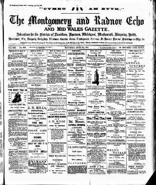 cover page of Montgomeryshire Echo published on April 22, 1899