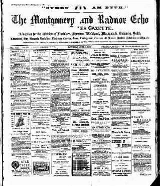 cover page of Montgomeryshire Echo published on June 3, 1899