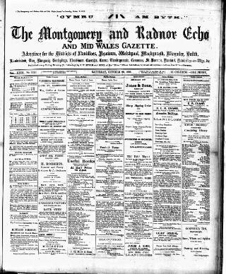 cover page of Montgomeryshire Echo published on October 20, 1906