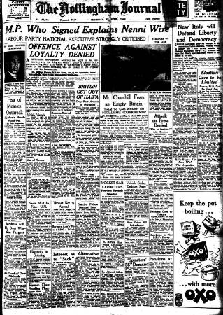 cover page of Nottingham Journal published on April 22, 1948