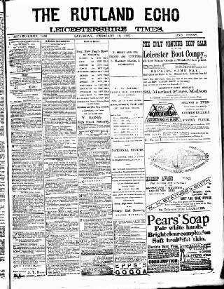 cover page of Rutland Echo and Leicestershire Advertiser published on February 19, 1887