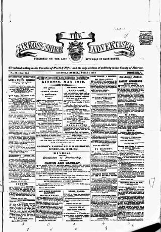 cover page of Kinross-shire Advertiser. published on April 24, 1852
