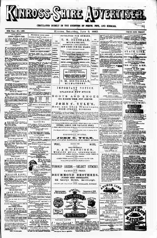 cover page of Kinross-shire Advertiser. published on June 3, 1882