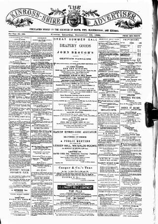 cover page of Kinross-shire Advertiser. published on September 22, 1888