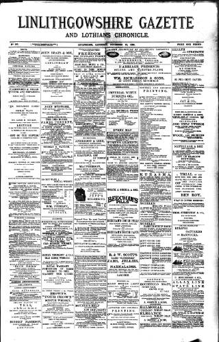 cover page of Linlithgowshire Gazette published on November 19, 1898