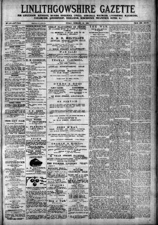 cover page of Linlithgowshire Gazette published on February 19, 1915