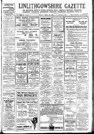 cover page of Linlithgowshire Gazette published on April 24, 1931
