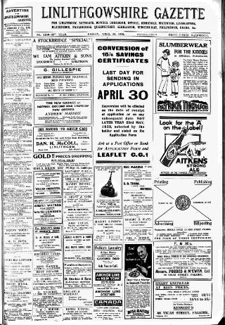 cover page of Linlithgowshire Gazette published on April 22, 1932