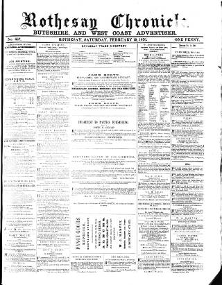 cover page of Rothesay Chronicle published on February 19, 1876