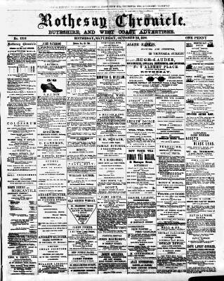 cover page of Rothesay Chronicle published on October 20, 1888