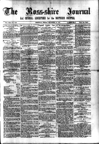 cover page of Ross-shire Journal published on September 20, 1895