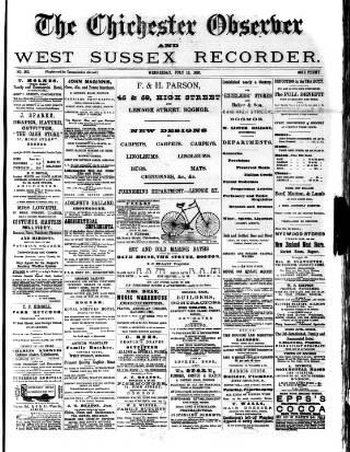 cover page of Chichester Observer published on July 16, 1890