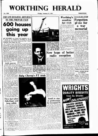 cover page of Worthing Herald published on January 22, 1954