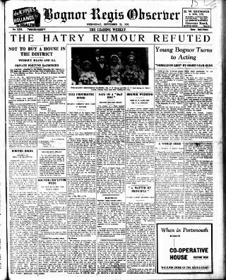 cover page of Bognor Regis Observer published on September 22, 1937
