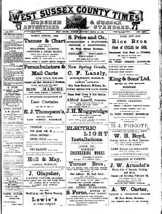 cover page of West Sussex County Times published on March 21, 1903