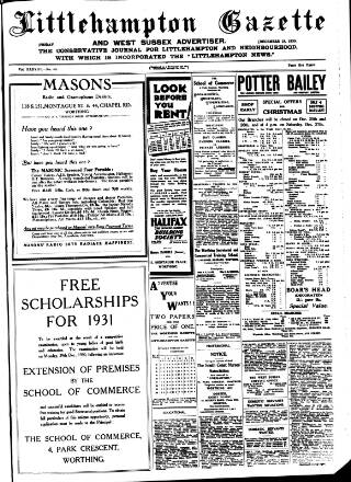 cover page of Littlehampton Gazette published on December 19, 1930