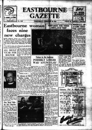cover page of Eastbourne Gazette published on February 20, 1957
