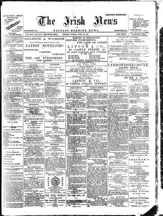 cover page of Irish News and Belfast Morning News published on April 24, 1903