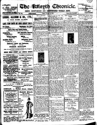 cover page of Kilsyth Chronicle published on February 25, 1916