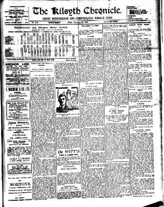 cover page of Kilsyth Chronicle published on November 24, 1922