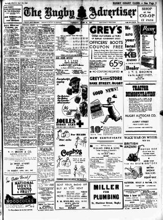 cover page of Rugby Advertiser published on April 22, 1947