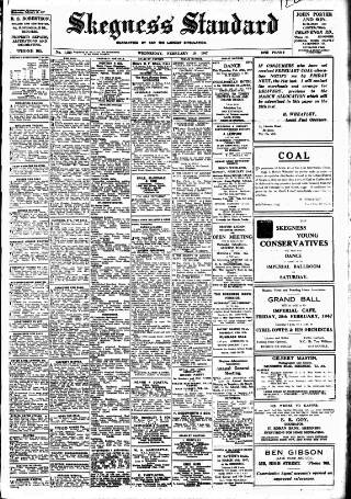 cover page of Skegness Standard published on February 19, 1947
