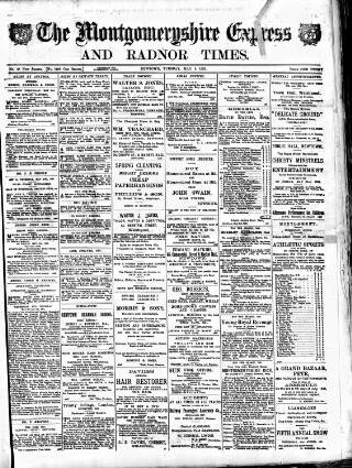 cover page of Montgomeryshire Express published on May 5, 1891