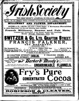 cover page of Irish Society (Dublin) published on September 20, 1890