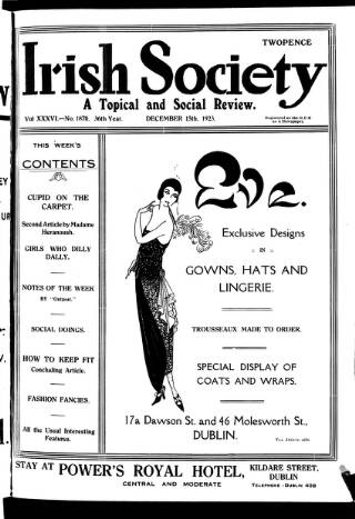 cover page of Irish Society (Dublin) published on December 15, 1923