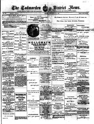 cover page of Todmorden & District News published on September 25, 1903