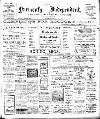 cover page of Yarmouth Independent published on July 25, 1903