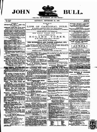 cover page of John Bull published on September 25, 1869