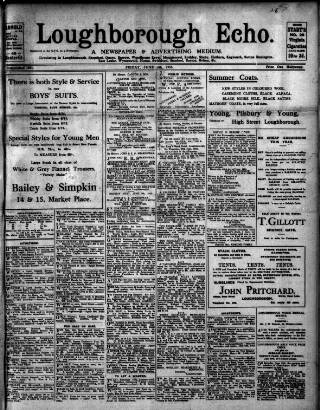 cover page of Loughborough Echo published on June 4, 1915