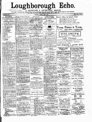 cover page of Loughborough Echo published on April 19, 1918