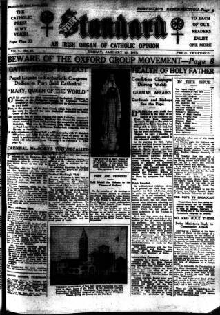 cover page of Catholic Standard published on January 22, 1937