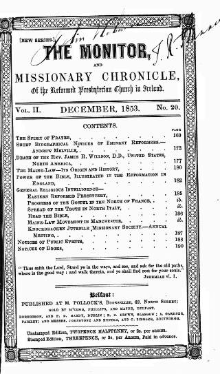 cover page of Monitor, and Missionary Chronicle, of the Reformed Presbyterian Church in Ireland published on December 1, 1853