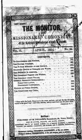 cover page of Monitor, and Missionary Chronicle, of the Reformed Presbyterian Church in Ireland published on April 1, 1854