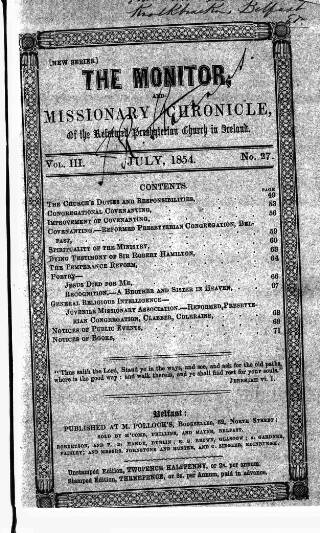 cover page of Monitor, and Missionary Chronicle, of the Reformed Presbyterian Church in Ireland published on July 1, 1854