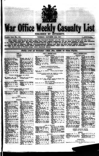 cover page of Weekly Casualty List (War Office & Air Ministry ) published on October 23, 1917
