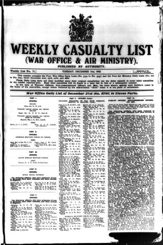 cover page of Weekly Casualty List (War Office & Air Ministry ) published on December 31, 1918
