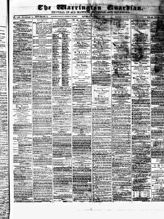 cover page of Warrington Guardian published on October 18, 1873
