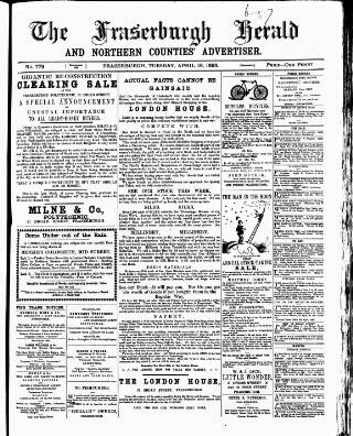 cover page of Fraserburgh Herald and Northern Counties' Advertiser published on April 18, 1899