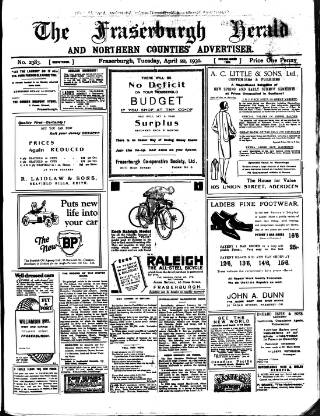 cover page of Fraserburgh Herald and Northern Counties' Advertiser published on April 22, 1930