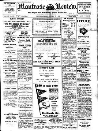cover page of Montrose, Arbroath and Brechin review; and Forfar and Kincardineshire advertiser. published on October 17, 1930