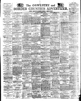 cover page of Oswestry Advertiser published on March 16, 1892
