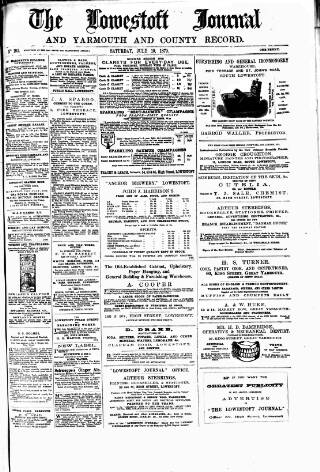 cover page of Lowestoft Journal published on July 19, 1879