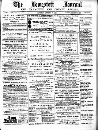 cover page of Lowestoft Journal published on October 17, 1885