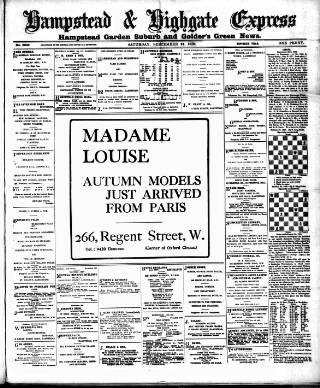 cover page of Hampstead & Highgate Express published on September 24, 1910
