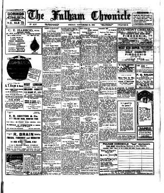 cover page of Fulham Chronicle published on September 20, 1940