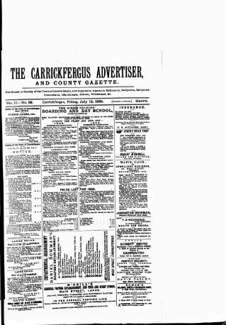 cover page of Carrickfergus Advertiser published on July 18, 1884